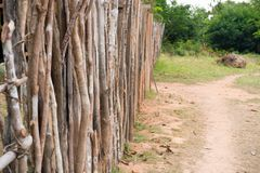Palisade or fence in countryside in boca de valeria, brazil. Stock Photo