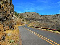 The Palisades. State Hwy 27 at The Upper Palisades section of the Crooked River Canyon south of Prineville, OR stock photos
