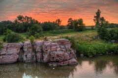 Palissaddelstatsparken är i South Dakota vid Garretson arkivbilder