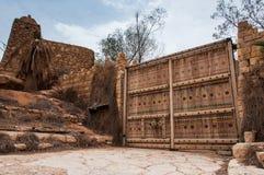 Palissade e fortificação grandes da entrada em Riyadh, Arábia Saudita Fotos de Stock