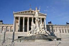 Paliuszu Athena fontanna przed Austriackim parlamentem, Wiedeń Zdjęcie Stock