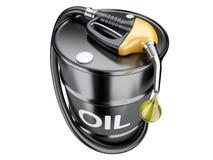 Paliwowy pojęcie z nafcianej baryłki i benzynowej pompy nozzle Fotografia Stock