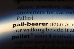 Pall bearer. Word in a dictionary.  concept stock image