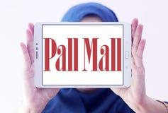 Pall mall cigarettes company logo. Logo of cigarettes company pall mall on samsung tablet holded by arab muslim woman stock photos