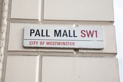 Pall Mall Street Sign, London. England, UK, Britian Stock Images
