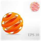 Palla arancio astratta con le linee Immagini Stock