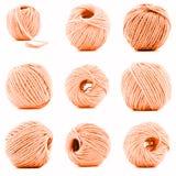 Palla arancio della raccolta del filato isolata su fondo bianco Fotografia Stock