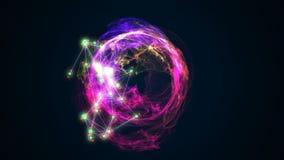 Palla astratta di energia che gira sull'illustrazione nera del fondo 3d Fotografia Stock