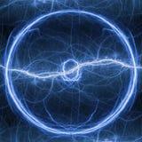 Palla blu del fulmine, plasma elettrico astratto Fotografia Stock Libera da Diritti