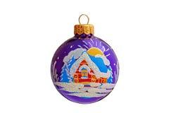 Palla blu di Natale con il disegno della casa Immagine Stock