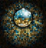 Palla blu dorata della discoteca con i raggi luminosi sul fondo di scintillio del mosaico Fotografia Stock