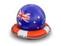 Palla con la bandiera australiana sul salvagente Fotografie Stock Libere da Diritti