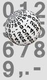 Palla con le cifre da zero a nove fotografia stock libera da diritti