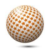 Palla con le stelle arancio isolate Fotografia Stock
