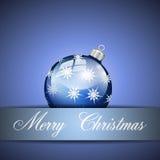 Palla d'argento blu di Buon Natale Immagine Stock