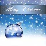 Palla d'argento blu di Buon Natale Fotografia Stock