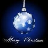 Palla d'argento blu di Buon Natale Immagine Stock Libera da Diritti