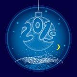 Palla d'attaccatura di natale bianco del dotwork di vettore con i numeri 2019 sui precedenti con il paesaggio di notte in blu Dec illustrazione di stock
