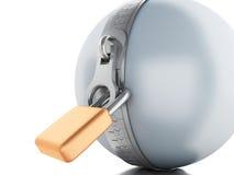 palla 3d con la chiusura lampo ed il lucchetto Fotografia Stock
