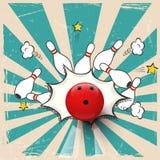 Palla da bowling realistica di vettore sul fondo di Pop art Colpo lanciante Fotografia Stock