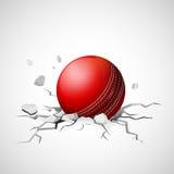 Palla da cricket che cade sulla crepa di fabbricazione a terra Fotografia Stock