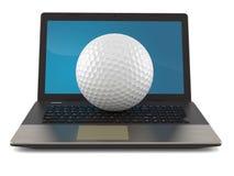 Palla da golf con il computer portatile illustrazione vettoriale