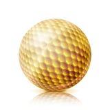 Palla da golf dell'oro illustrazione realistica di vettore 3D Isolato su priorità bassa bianca Fotografia Stock