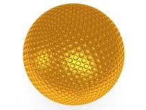Palla da golf dell'oro isolata su bianco. 3d rendono. Immagine Stock Libera da Diritti