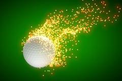 Palla da golf di volo che lascia una traccia della stella dietro Fotografie Stock