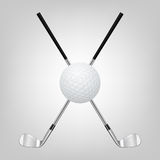 Palla da golf e due club di golf attraversati Fotografia Stock Libera da Diritti