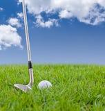 Palla da golf e ferro su erba alta Immagini Stock