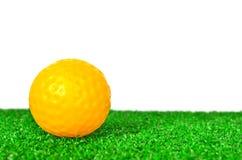 Palla da golf gialla Fotografie Stock