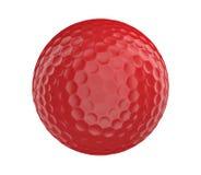 Palla da golf rossa 3D isolata su un fondo bianco Fotografia Stock