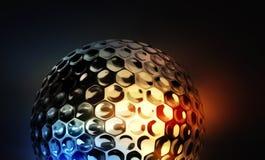 Palla da golf su fondo variopinto astratto Immagine Stock