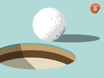 Palla da golf sul bordo di progettazione del foro, progettazione di golf Immagini Stock Libere da Diritti