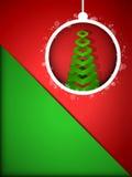 Palla del buon anno di Buon Natale su Backgro rosso Fotografia Stock
