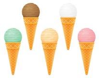 Palla del gelato nell'illustrazione di vettore del cono della cialda Fotografia Stock Libera da Diritti