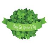 Palla del giorno di St Patrick fatta delle foglie dell'acetosella con il nastro Illustrazione di Stock