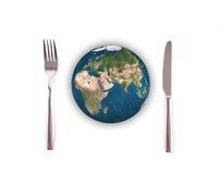 Palla del globo del mondo con la forcella e coltello, elementi di questa pelliccia di immagine Immagine Stock