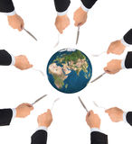 Palla del globo del mondo con la forcella e coltello isolato, elementi di questo Immagini Stock