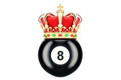 Palla del nero otto del biliardo con la corona reale, rappresentazione 3D Fotografia Stock