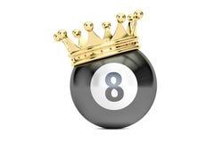 Palla del nero otto del biliardo con la corona dorata, rappresentazione 3D Fotografia Stock Libera da Diritti