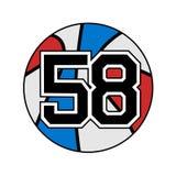 Palla del simbolo di pallacanestro con il numero 58 Immagine Stock