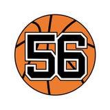Palla del simbolo di pallacanestro con il numero 56 Fotografia Stock Libera da Diritti