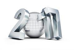 Palla 2017 della discoteca del nuovo anno su fondo bianco Fotografia Stock