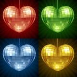 Palla della discoteca di vettore sotto forma di cuore Fotografia Stock