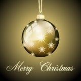 Palla di Buon Natale dell'oro Immagini Stock