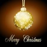 Palla di Buon Natale dell'oro Fotografia Stock