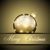 Palla di Buon Natale dell'oro Fotografia Stock Libera da Diritti