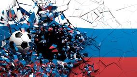 Palla di calcio di calcio che si rompe sebbene parete con la bandiera della Russia illustrazione 3D Fotografia Stock